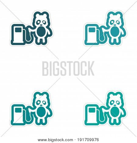 Set of paper stickers on white background panda petrol pump