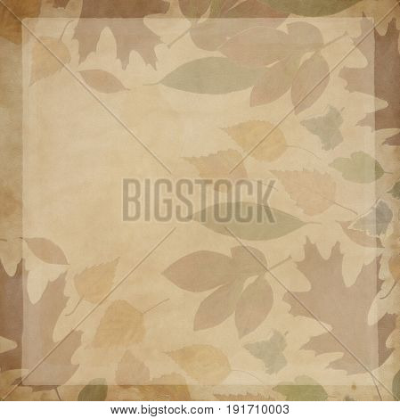 Background sepia true leaves and canvas material handmade wrought canvas scratched material.  sepia vintage style color
