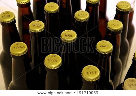 Many Homebrews in Amber Bottles from the Top