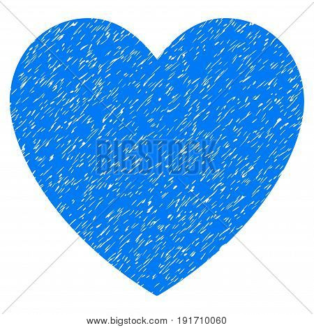Grunge Love Heart icon with grunge design and dust texture. Unclean vector blue pictogram for rubber seal stamp imitations and watermarks. Draft sign love heart symbol.