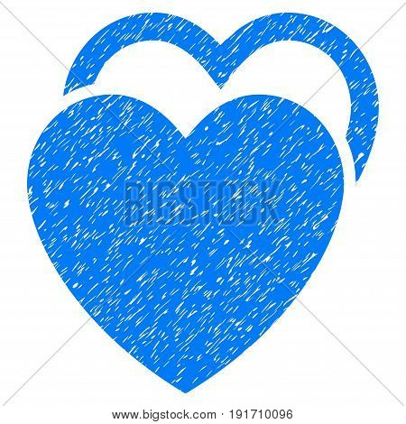 Grunge Love Hearts icon with grunge design and unclean texture. Unclean vector blue pictogram for rubber seal stamp imitations and watermarks. Draft emblem love hearts symbol.