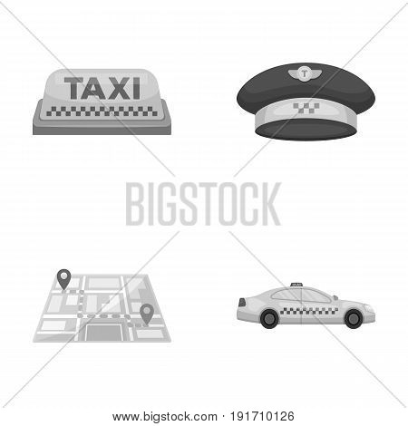 Yellow taxi inscription, a cap with a taxi badge, a map with a mark, a car with checkers. Taxi set collection icons in monochrome style vector symbol stock illustration .