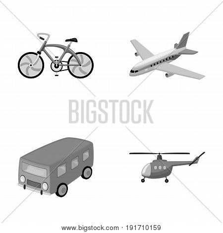 Bicycle, airplane, bus, helicopter types of transport. Transport set collection icons in monochrome style vector symbol stock illustration.