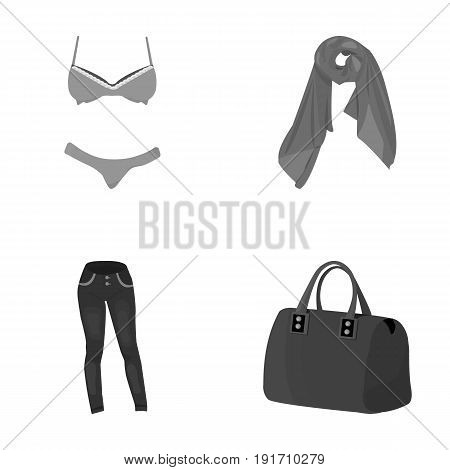 Bra with shorts, a women's scarf, leggings, a bag with handles. Women's clothing set collection icons in monochrome style vector symbol stock illustration .