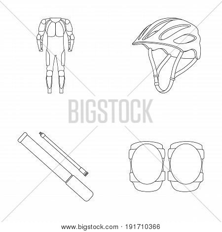 Full-body suit for the rider, helmet, pump with a hose, knee protectors. Cyclist outfit set collection icons in outline style vector symbol stock illustration.