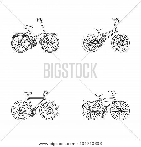 Children's bicycle and other kinds. Different bicycles set collection icons in outline style vector symbol stock illustration.