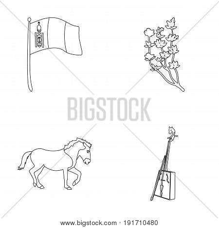 National flag, horse, musical instrument, steppe plant. Mongolia set collection icons in outline style vector symbol stock illustration .