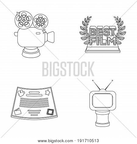Silver camera. A bronze prize in the form of a TV and other types of prizes.Movie awards set collection icons in outline style vector symbol stock illustration .