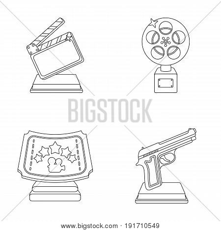 Gold pistol, silver prize for the best supporting role and other prizes.Movie awards set collection icons in outline style vector symbol stock illustration .