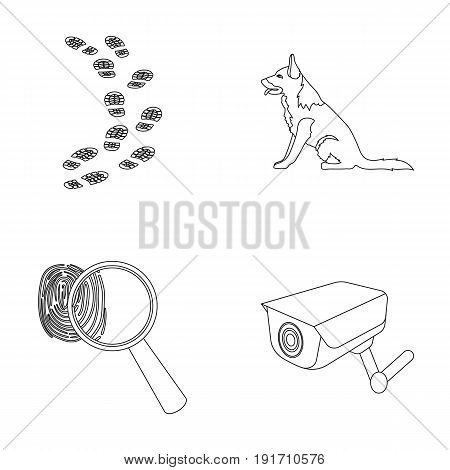 Traces on the ground, service shepherd, security camera, fingerprint. Prison set collection icons in outline style vector symbol stock illustration .