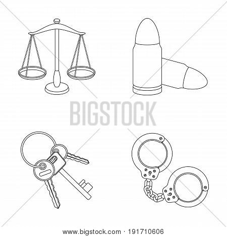 Scales of justice, cartridges, a bunch of keys, handcuffs.Prison set collection icons in outline style vector symbol stock illustration.