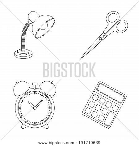 Table lamp, scissors, alarm clock, calculator. School and education set collection icons in outline style vector symbol stock illustration .