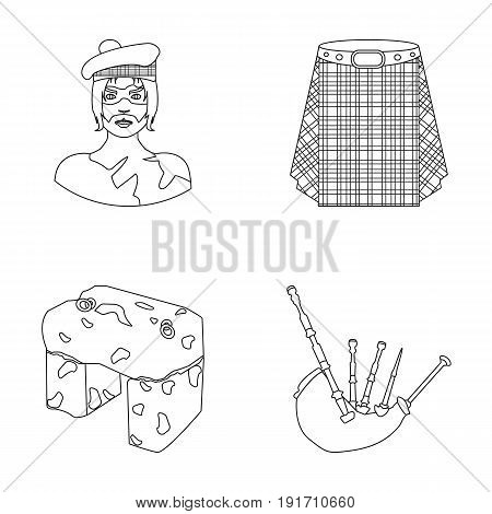 Highlander, Scottish Viking, tartan, kilt, scottish skirt, scone stone, national musical instrument of bagpipes. Scotland set collection icons in outline style vector symbol stock illustration .