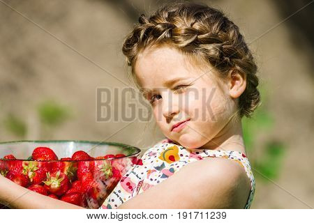 Cute Little Girl Posing With Fresh Red Strawberry In The Sunny Garden
