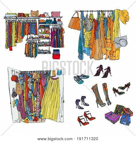 With clothes, in closets, open With shoe accessories and gifts
