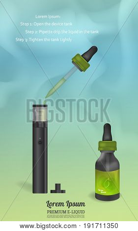 Instructions for refilling the tank of an electronic cigarette. Design of a bottle with an e-liquid. Cover, materials for product advertising. Vapor on backdrop.