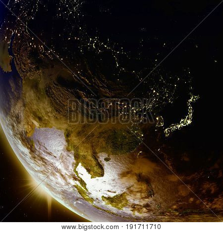 Sunset Above East Asia From Space