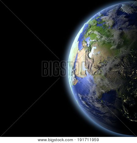 Central Asia From Space In The Evening Light
