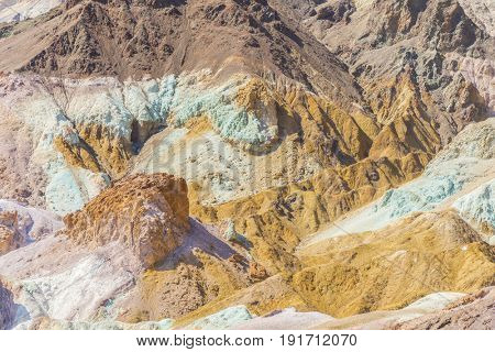 Vivid and multicolored badlands of the Death Valley National Park known as Artists Palette, Furnace Creek Area. California, USA