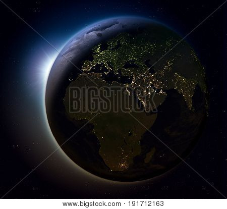 Emea Region From Space At Night