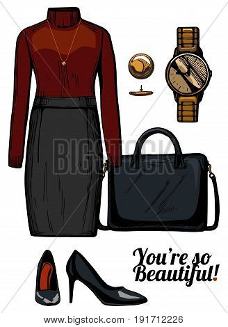 Vector illustration of women fashion clothes look set. Turtleneck blouse pencil skirt structured bag patent leather pumps shoes golden watch.Ink hand drawn style colored.