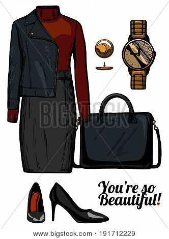 Vector illustration of women fashion clothes look set. Turtleneck top rider jacket structured bag golden watch and patent leather black pumps.Ink hand drawn style colored.
