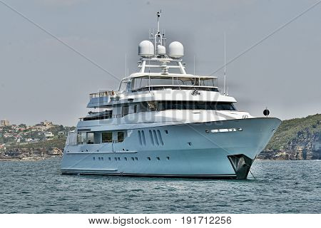 A fully equipped Australian 45 meter 90 ton plus luxury cruising motor super yacht anchored in Sydney's North Harbour. 2013.