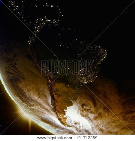 Sunset Above South America From Space
