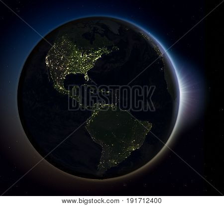 Americas From Space At Night