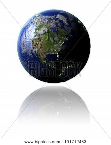 North America On Globe
