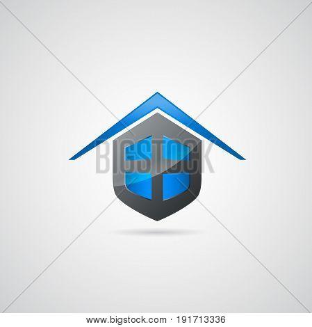 Home shield symbol logo. Vector Illustration design