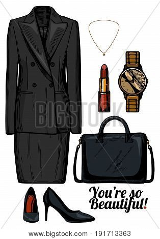 Vector illustration of women fashion clothes look set.Formal business womens suit with double breasted jacket and pencil skirt black patent leather pumps structured bag golden watch and earrings. Ink hand drawn style colored.
