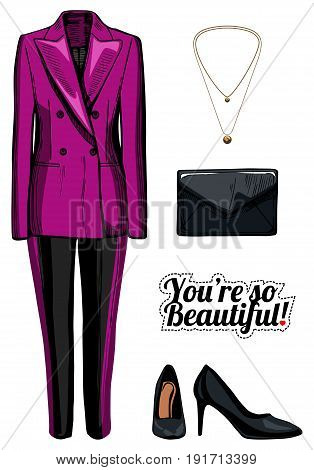 Vector illustration of women fashion clothes look set. Pink double breasted jacket black pants with side stripes black patent leather pumps clutch bag golden pendant. Ink hand drawn style colored.