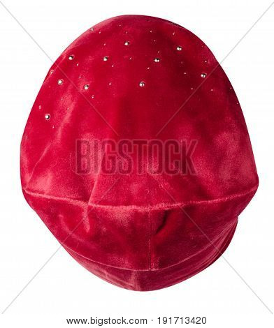 Women's Hat . Knitted Hat Isolated On White Background . Red Hat