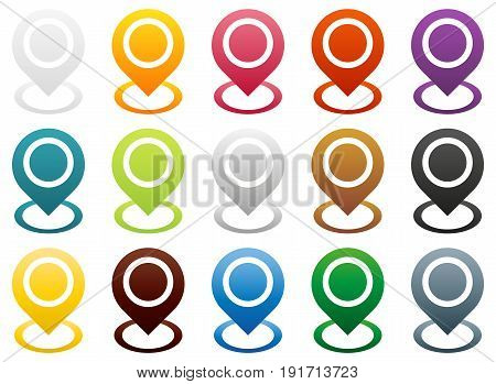 Big set of map pointers end (start) of route or other special point 15 color modification isolated on white with colorful circle round the key point gps navigation pins