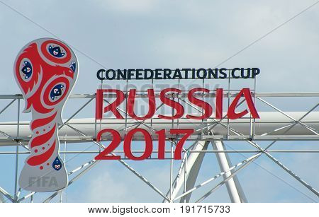 MOSCOW RUSSIA - June 18 2017 The logo of the FIFA Confederations Cup 2017 on the roof of the Spartak stadium in Moscow where the matches of the FIFA Confederations Cup 2017 and the 2018 FIFA World Cup will be held.