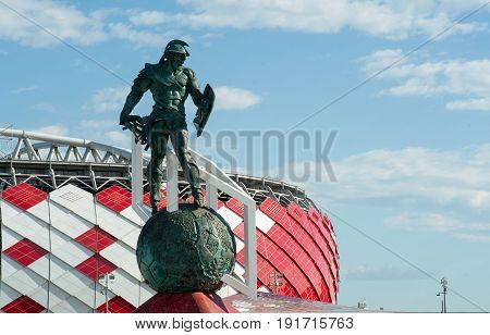MOSCOW RUSSIA - June 18 2017 The sculpture of the gladiator in the square in front of the Spartak stadium in Moscow where the matches of the FIFA Confederations Cup 2017 and the 2018 FIFA World Cup will be held.