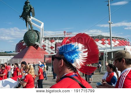 MOSCOW RUSSIA - June 18 2017 Fans of the Chile national team near the Spartak stadium in Moscow before the start of the match of the group stage of the FIFA Confederations Cup 2017 between the national teams of Cameroon and Chile.