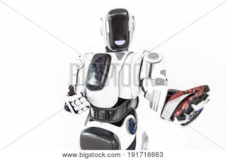 Come with me. Affable robot is standing straight and pulling his hand forward. Isolated and copy space