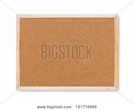 Blank Cork board with wooden frame on white background.