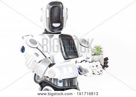 Robotics close to nature. Cyborg is standing and presenting small green plant. Isolated