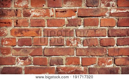 Vintage red brick wall. Simple brick wall background or texture.