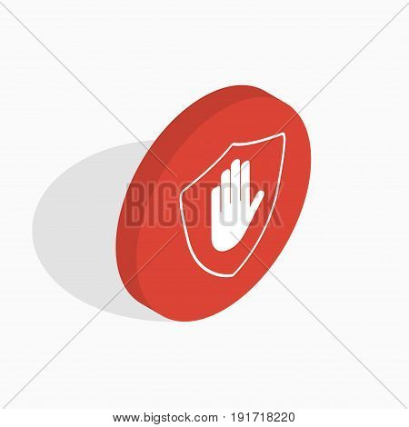 Isometric Shield With Hand Block Icon. Stop Hand Red Prohibition Isometric Symbol
