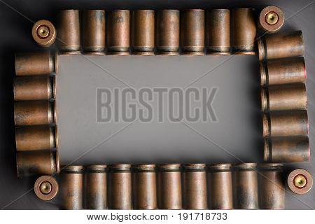 Beautifully Laid Out Shells 9 Mm Pistol In A Frame Filled With Smoke