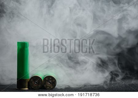 Shot Cartridges Shotguns 16 Gauge Light Green Color In The Smoke