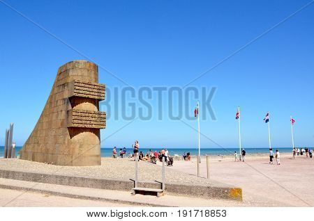 VIERVILLE-SUR-MER FRANCE - AUG 12: The Omaha Beach memorial to those who died at Omaha Beach during D-Day is shown in Vierville-sur-Mer France on August 12 2016.