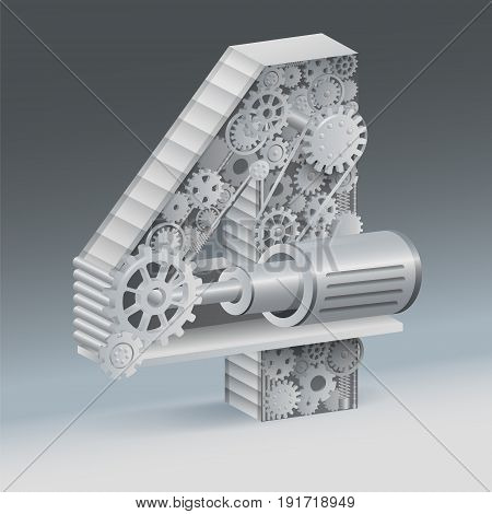 industry 4 alphabet concept of industrial business.  vector realistic.