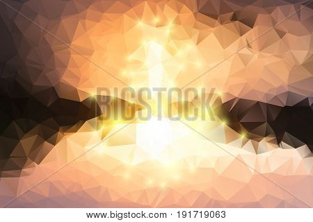 Yellow Coral Pink Brown Geometric Background With Lights