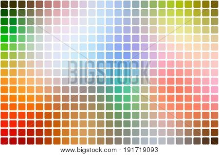 Rainbow Colors Abstract Rounded Mosaic Background Over White