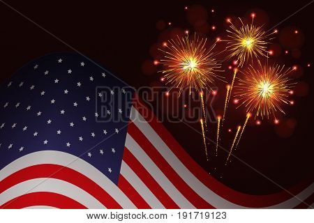 United States flag and celebration sparkling fireworks background. Independence Day 4th of July holidays salute greeting card.